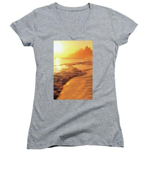 Ipanema Beach Rio De Janeiro Brazil Women's V-Neck T-Shirt (Junior Cut) by Utah Images