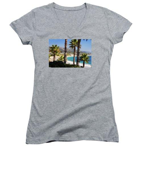 Laguna Beach California Coast Women's V-Neck T-Shirt (Junior Cut) by Utah Images