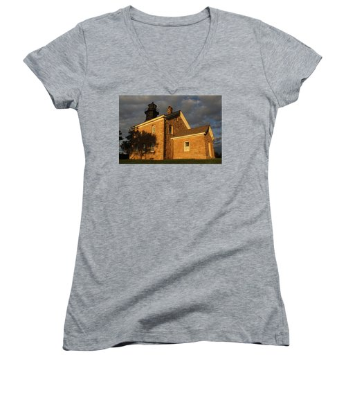 Lighthouse Old Field Point New York Women's V-Neck T-Shirt (Junior Cut) by Bob Savage