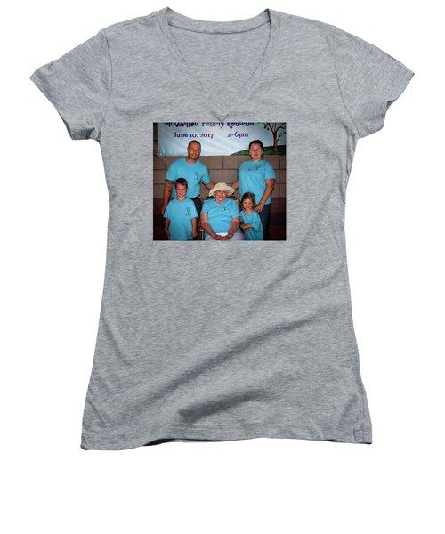 Mcquillen Family Reunion 2017 Women's V-Neck T-Shirt (Junior Cut) by John A Rodriguez