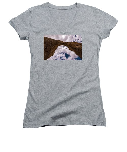 Women's V-Neck T-Shirt (Junior Cut) featuring the photograph Monument Rocks by Jay Stockhaus