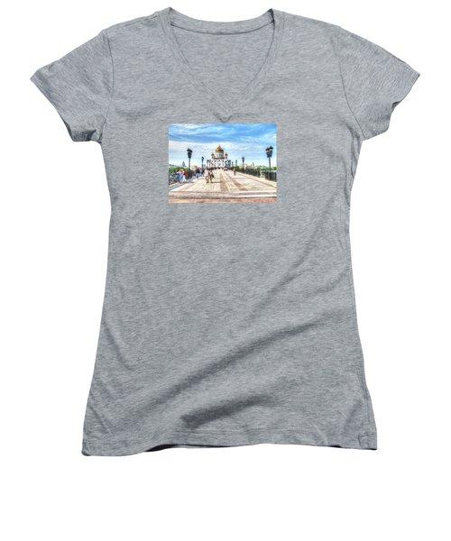 Moscow Russia Women's V-Neck T-Shirt (Junior Cut) by Yury Bashkin