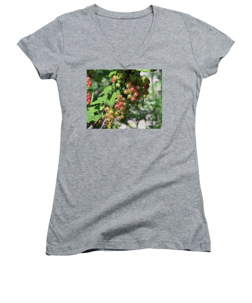 Women's V-Neck T-Shirt (Junior Cut) featuring the photograph My Currant by Elvira Ladocki