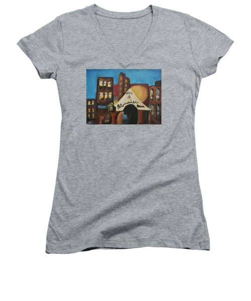 Women's V-Neck T-Shirt (Junior Cut) featuring the painting Nye's Polonaise Room by Susan Stone