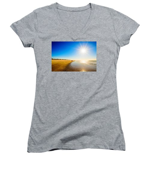 Women's V-Neck T-Shirt (Junior Cut) featuring the photograph 3 On The Beach  by John Harding