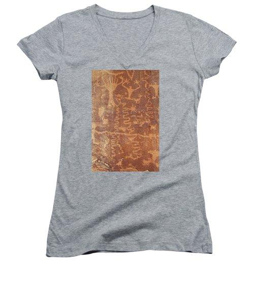 Petroglyph - Fremont Indian Women's V-Neck T-Shirt