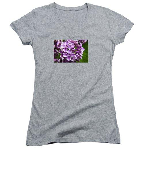 Pink Flowers Women's V-Neck T-Shirt (Junior Cut) by Andre Faubert