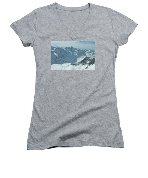 Women's V-Neck T-Shirt (Junior Cut) featuring the photograph Pitztal Glacier by Christian Zesewitz