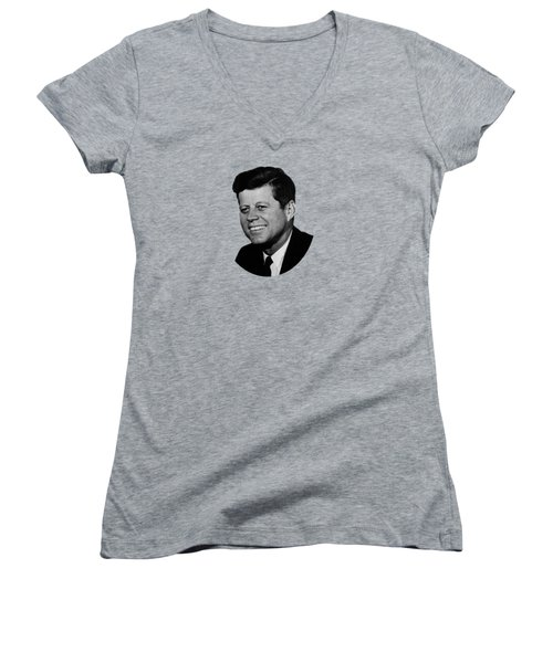President Kennedy Women's V-Neck T-Shirt (Junior Cut) by War Is Hell Store