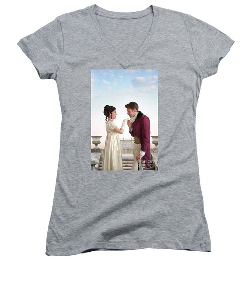 Regency Couple  Women's V-Neck T-Shirt (Junior Cut) by Lee Avison