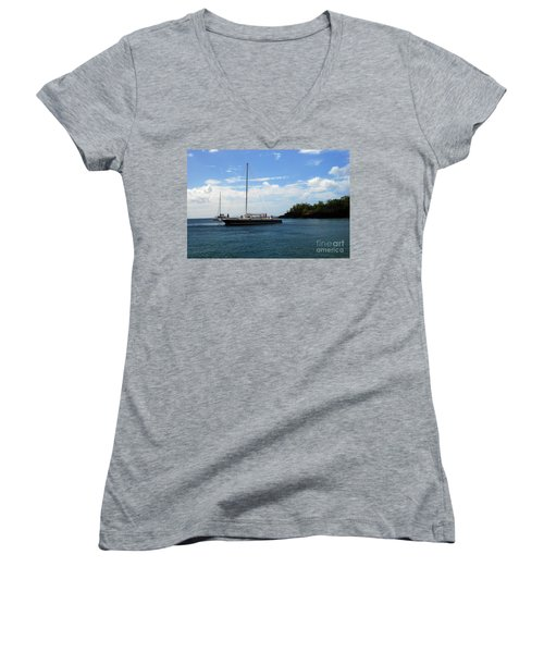 Women's V-Neck T-Shirt featuring the photograph Sail Boat by Gary Wonning