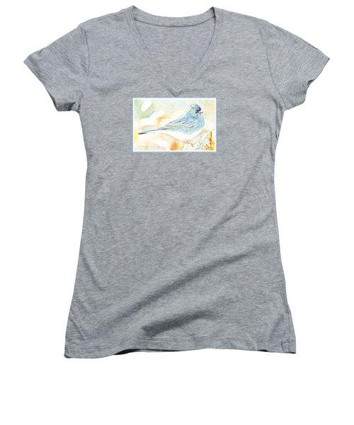 Slate-colored Junco, Snowbird, Male, Animal Portrait Women's V-Neck T-Shirt (Junior Cut) by A Gurmankin