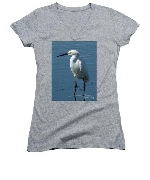 Snowy White Egret Women's V-Neck