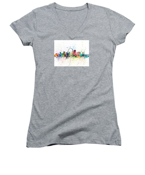 St Louis Missouri Skyline Women's V-Neck T-Shirt
