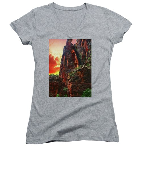 Sunrise In Canyonlands Women's V-Neck (Athletic Fit)