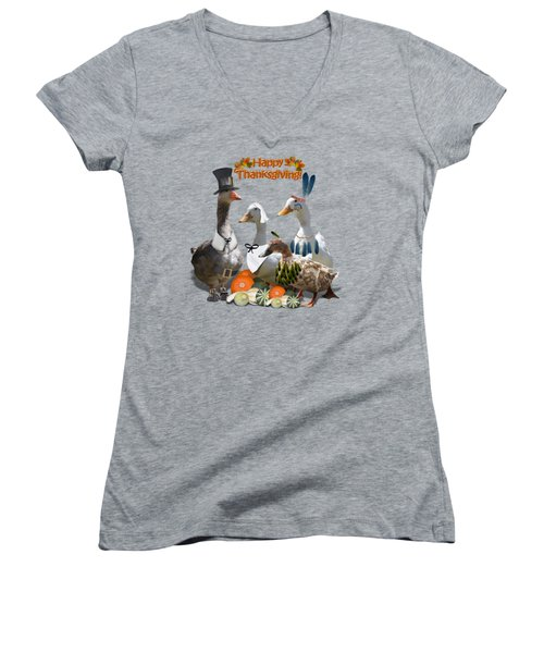 Thanksgiving Ducks Women's V-Neck T-Shirt (Junior Cut) by Gravityx9 Designs