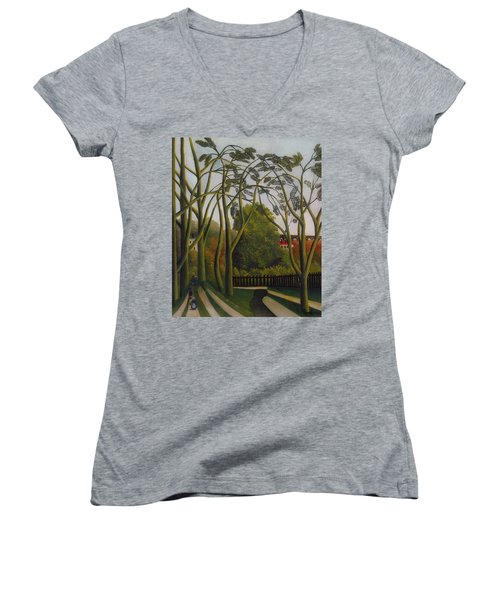 Women's V-Neck T-Shirt (Junior Cut) featuring the painting The Banks Of The Bievre Near Bicetre by Henri Rousseau