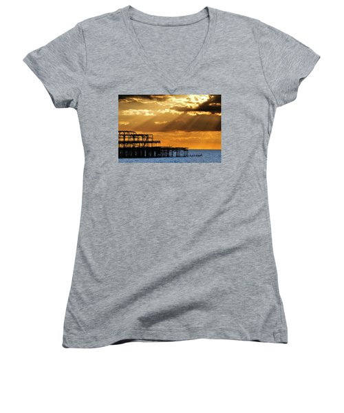 The West Pier In Brighton At Sunset Women's V-Neck (Athletic Fit)