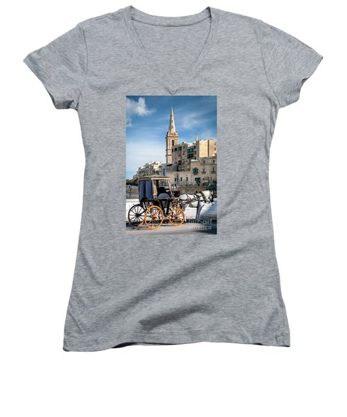 Tourist Horse Carriage In Old Town Street La Valletta Malta Women's V-Neck (Athletic Fit)