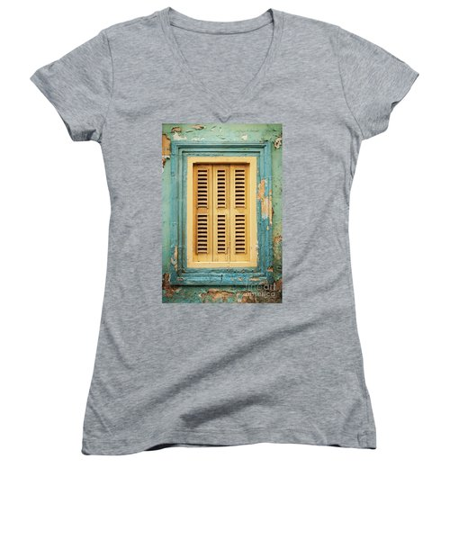 Traditional House Window Architecture Detail La Valletta Old Tow Women's V-Neck (Athletic Fit)
