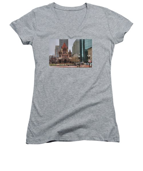 Women's V-Neck T-Shirt (Junior Cut) featuring the photograph Trinity Church - Copley Square - Boston by Joann Vitali