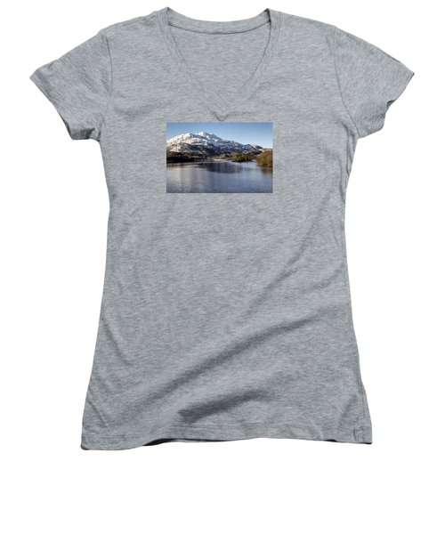 Trossachs Scenery In Scotland Women's V-Neck T-Shirt (Junior Cut) by Jeremy Lavender Photography