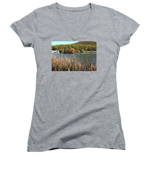 View Of Peaks Of Otter Lodge And Abbott Lake  In Autumn Women's V-Neck