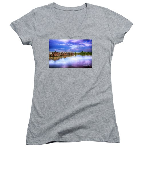 Women's V-Neck T-Shirt (Junior Cut) featuring the photograph Village by Charuhas Images