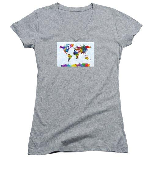 Watercolor Map Of The World Map Women's V-Neck T-Shirt (Junior Cut) by Michael Tompsett