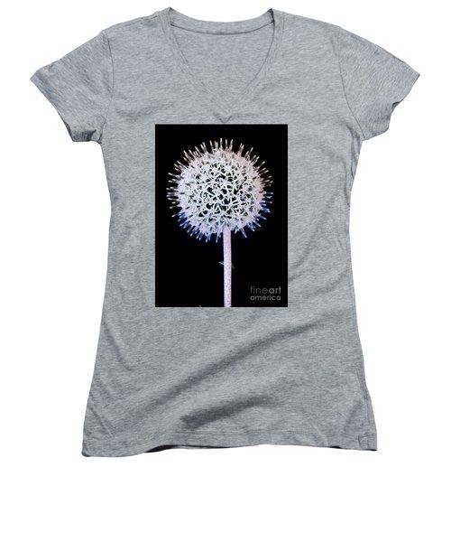 White Alium Onion Flower Women's V-Neck T-Shirt (Junior Cut) by Colin Rayner