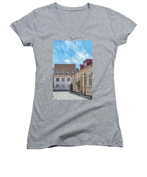 Women's V-Neck T-Shirt (Junior Cut) featuring the photograph Ystad Street Scene by Antony McAulay