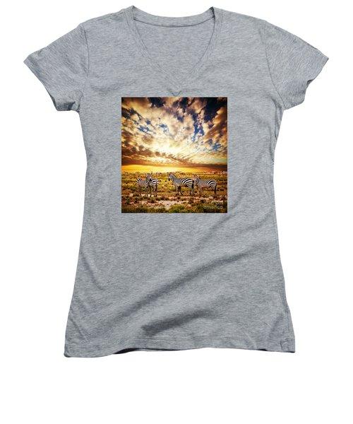 Zebras Herd On African Savanna At Sunset. Women's V-Neck T-Shirt