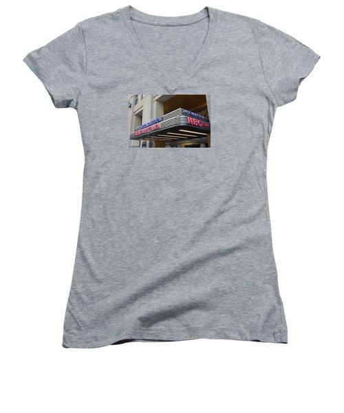 Women's V-Neck T-Shirt (Junior Cut) featuring the photograph 30 Rock Jimmy Fallon Marquee by Melinda Saminski