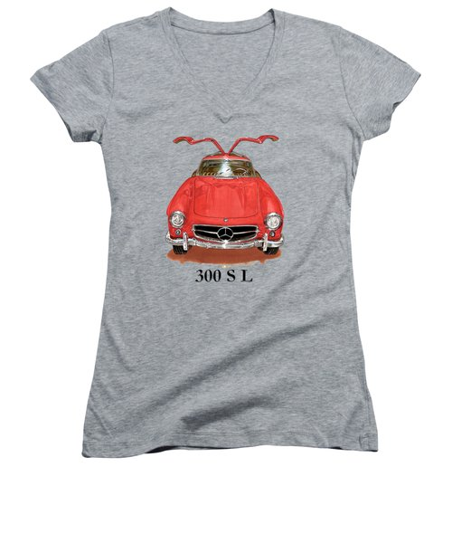 300 Sl Mercedes Benz 1955 Women's V-Neck T-Shirt