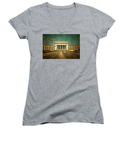 Women's V-Neck T-Shirt (Junior Cut) featuring the mixed media 30th Street Station Traffic by Trish Tritz