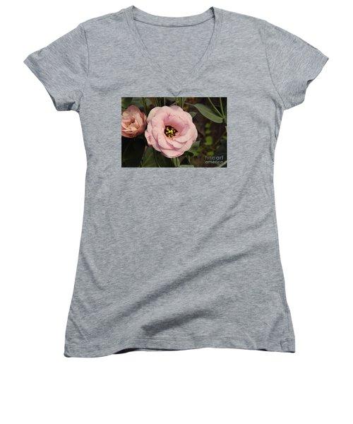 Pink Flowers Women's V-Neck T-Shirt (Junior Cut) by Elvira Ladocki