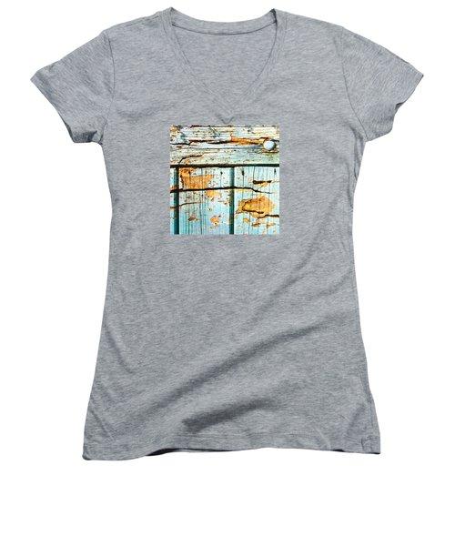 Wooden Background Women's V-Neck T-Shirt