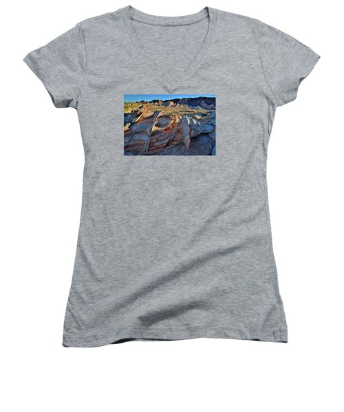 Women's V-Neck T-Shirt (Junior Cut) featuring the photograph Colorful Sandstone In Valley Of Fire by Ray Mathis