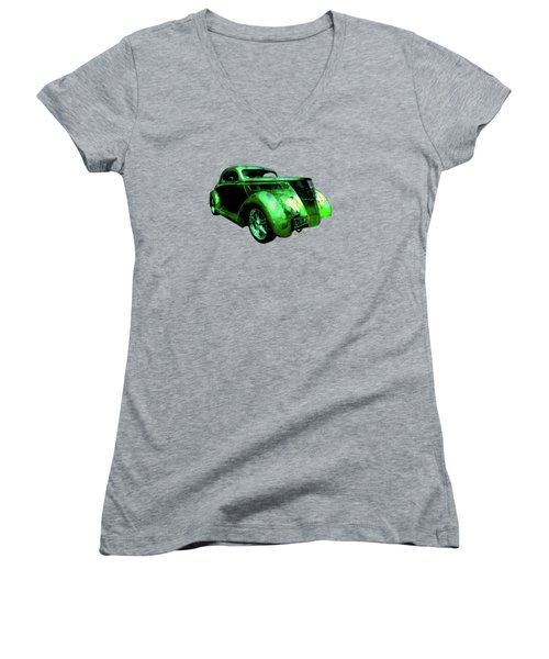 37 Ford Street Rod Luv Me Green Meanie Women's V-Neck