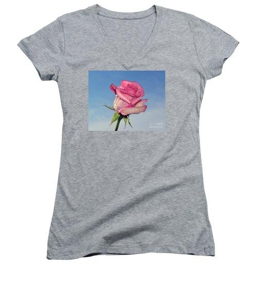 Nice Rose Women's V-Neck T-Shirt (Junior Cut) by Elvira Ladocki