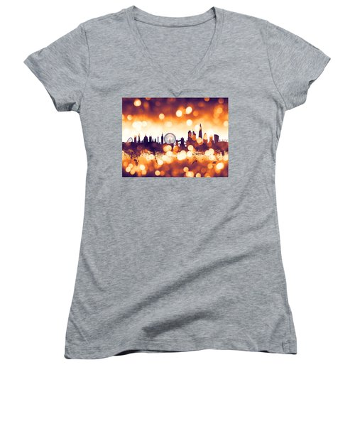 London England Skyline Women's V-Neck T-Shirt (Junior Cut) by Michael Tompsett
