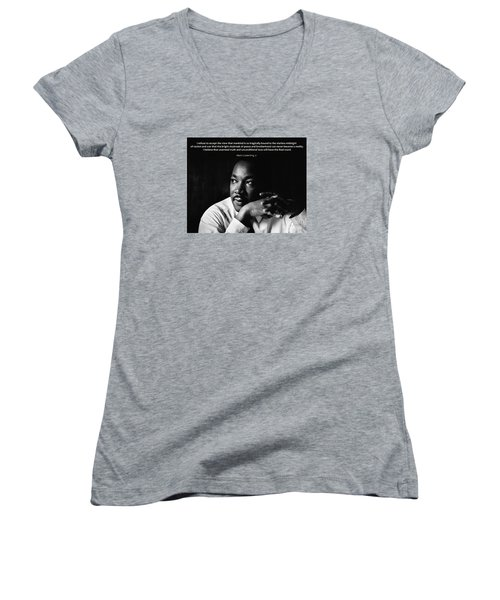 39- Martin Luther King Jr. Women's V-Neck T-Shirt (Junior Cut) by Joseph Keane