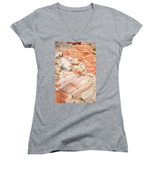 Women's V-Neck T-Shirt (Junior Cut) featuring the photograph Multicolored Sandstone In Valley Of Fire by Ray Mathis