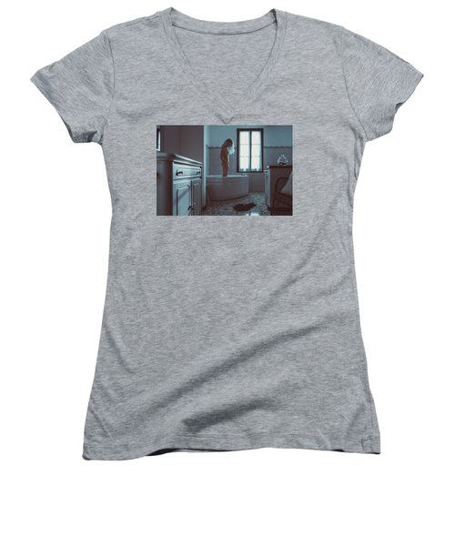 Tu M'as Promis Women's V-Neck T-Shirt (Junior Cut) by Traven Milovich