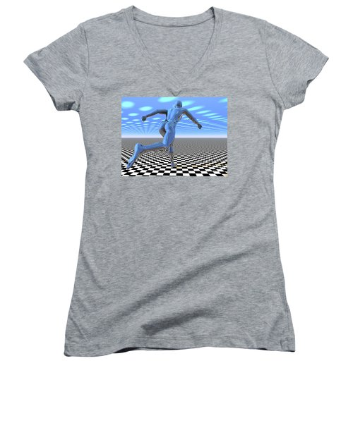 3d Runner Women's V-Neck T-Shirt