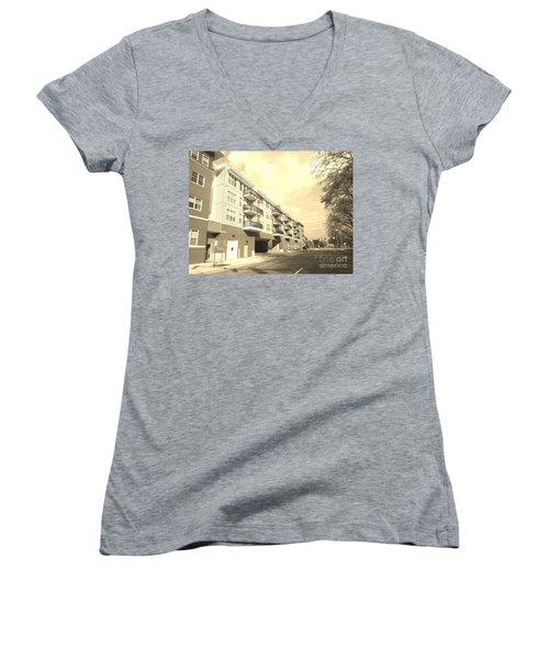 3rd Street Columbus Indiana - Sepia Women's V-Neck T-Shirt (Junior Cut) by Scott D Van Osdol