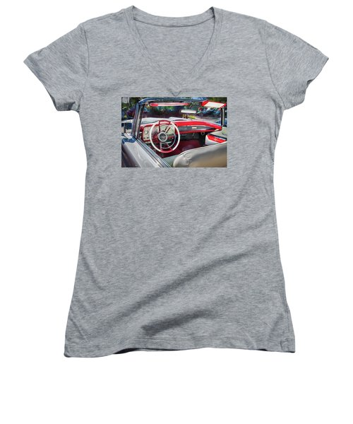 1959 Lincoln Continental Town Car Mk Iv Painted  Women's V-Neck T-Shirt (Junior Cut) by Rich Franco