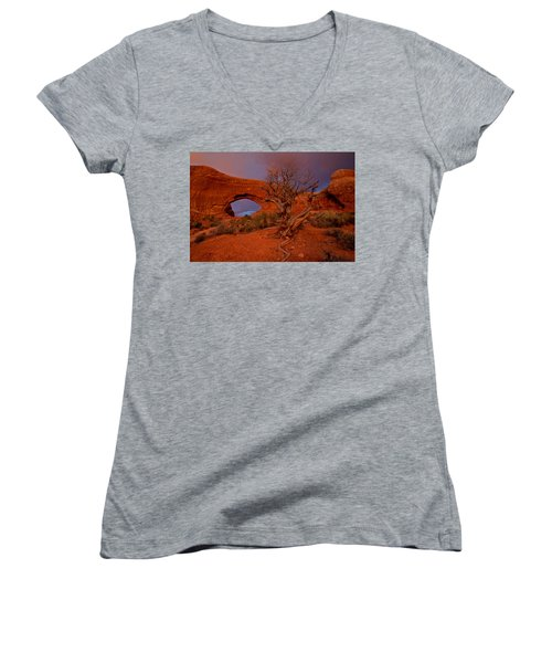 Women's V-Neck T-Shirt (Junior Cut) featuring the photograph Arches by Evgeny Vasenev