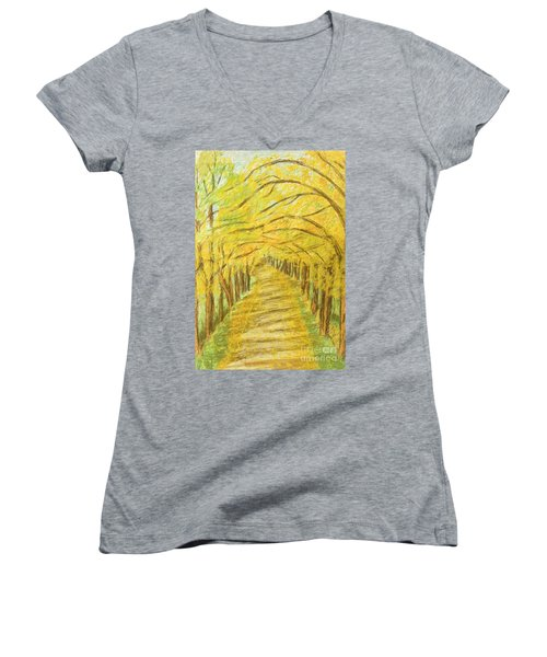 Autumn Landscape, Painting Women's V-Neck T-Shirt (Junior Cut) by Irina Afonskaya