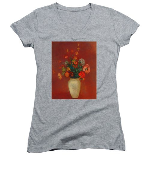 Women's V-Neck T-Shirt (Junior Cut) featuring the painting Bouquet In A Chinese Vase by Odilon Redon